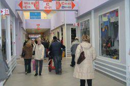 wnętrze gotowej hali - boksy handlowe, dla Centrum Handlowe EACC, Wólka Kosowska, woj. mazowieckie