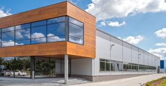 elewacja hali i biurowca - hala produkcyjno-magazynowa z częścią socjalno-biurową i budynkiem biurowym, DreamPen, Zielona Góra