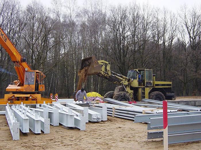 elementy konstrukcji stalowej - hala magazynowa z częścią biurową, dla Poland Fur Production, Leszczno, woj. zachodniopomorskie