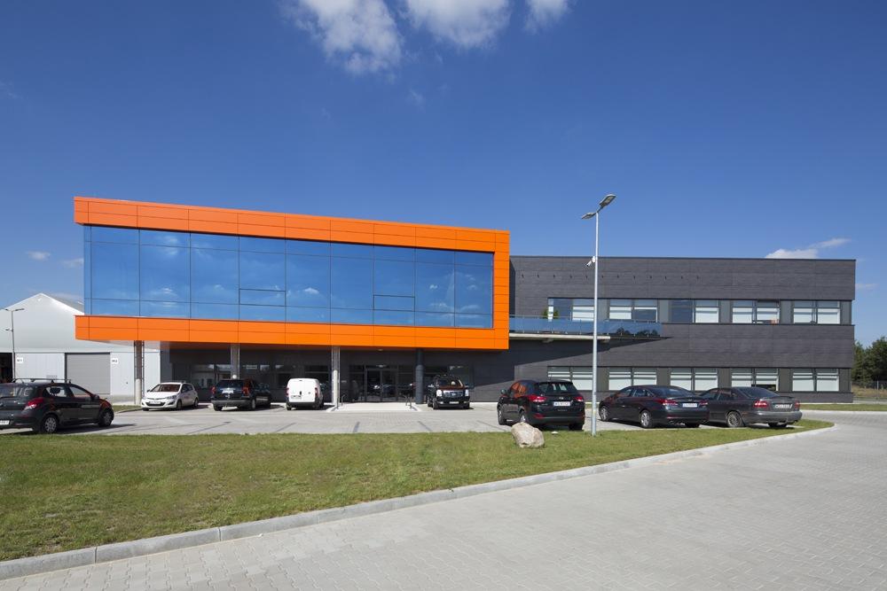 elewacja frontowa - hala produkcyjno-magazynowa z budynkiem biurowym, dla Lidermax, Łukowo, woj. mazowieckie