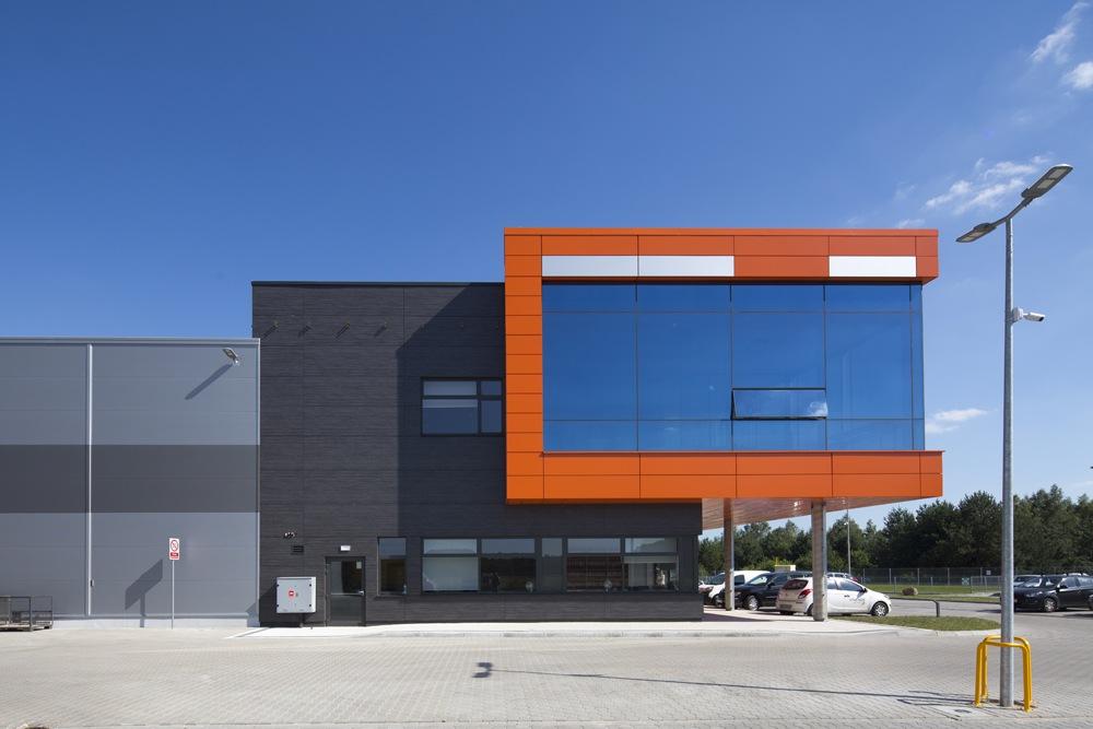 fragment elewacji bocznej - hala produkcyjno-magazynowa z budynkiem biurowym, dla Lidermax, Łukowo, woj. mazowieckie
