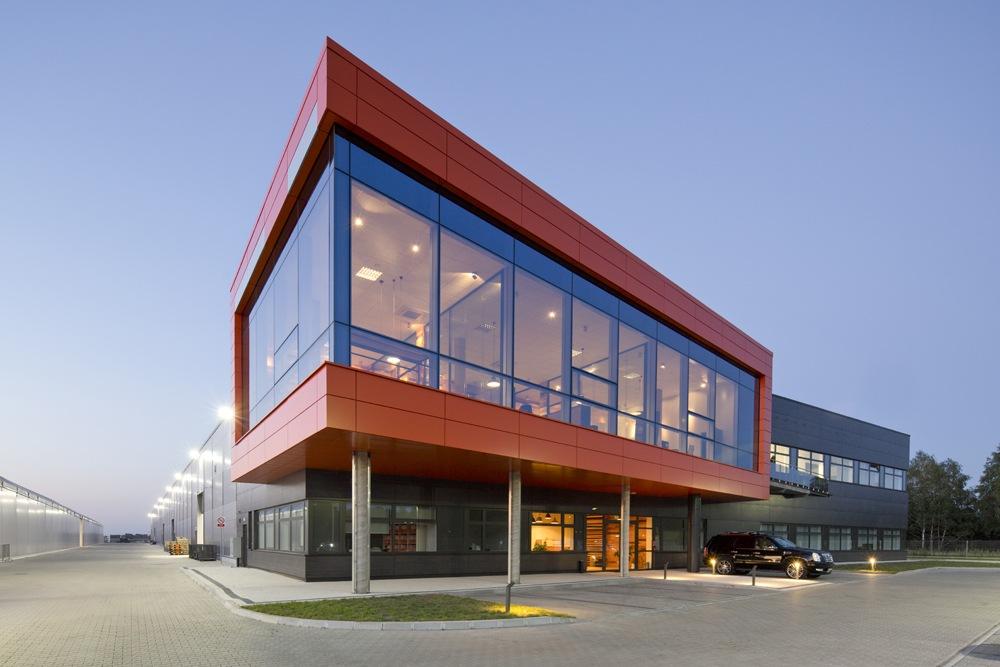 widok ogólny 5 - hala produkcyjno-magazynowa z budynkiem biurowym, dla Lidermax, Łukowo, woj. mazowieckie