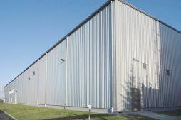 elewacja przednia - hala produkcyjno-magazynowa z częścią biurową, dla Ergis, Wąbrzeźno, woj. kujawsko-pomorskie