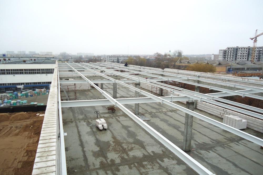 widok konstrukcji stalowej z góry 1 - hala magazynowa z budynkiem biurowym, dla Refleks, Białystok, woj. podlaskie