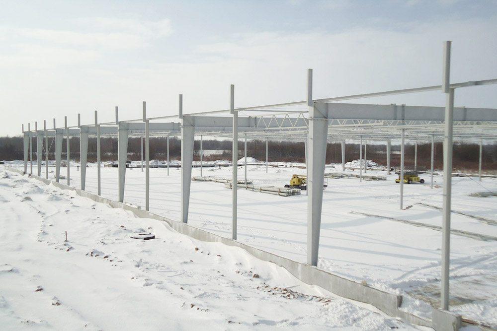 konstrukcja stalowa obiektu - hala produkcyjna z budynkiem biurowym, dla Uniservice, Skarbimierz