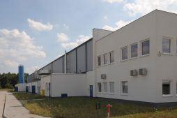 fragment elewacji - hala produkcyjna z budynkiem biurowym, dla Algontec, Kostrzyn nad Odrą, woj. lubuskie