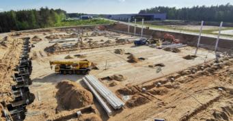 pierwszy etap prac przy budowie hali logistycznej - centrum logistyczne, Indeka Logistic City, Słupska SSE, Płaszewko, woj. pomorskie
