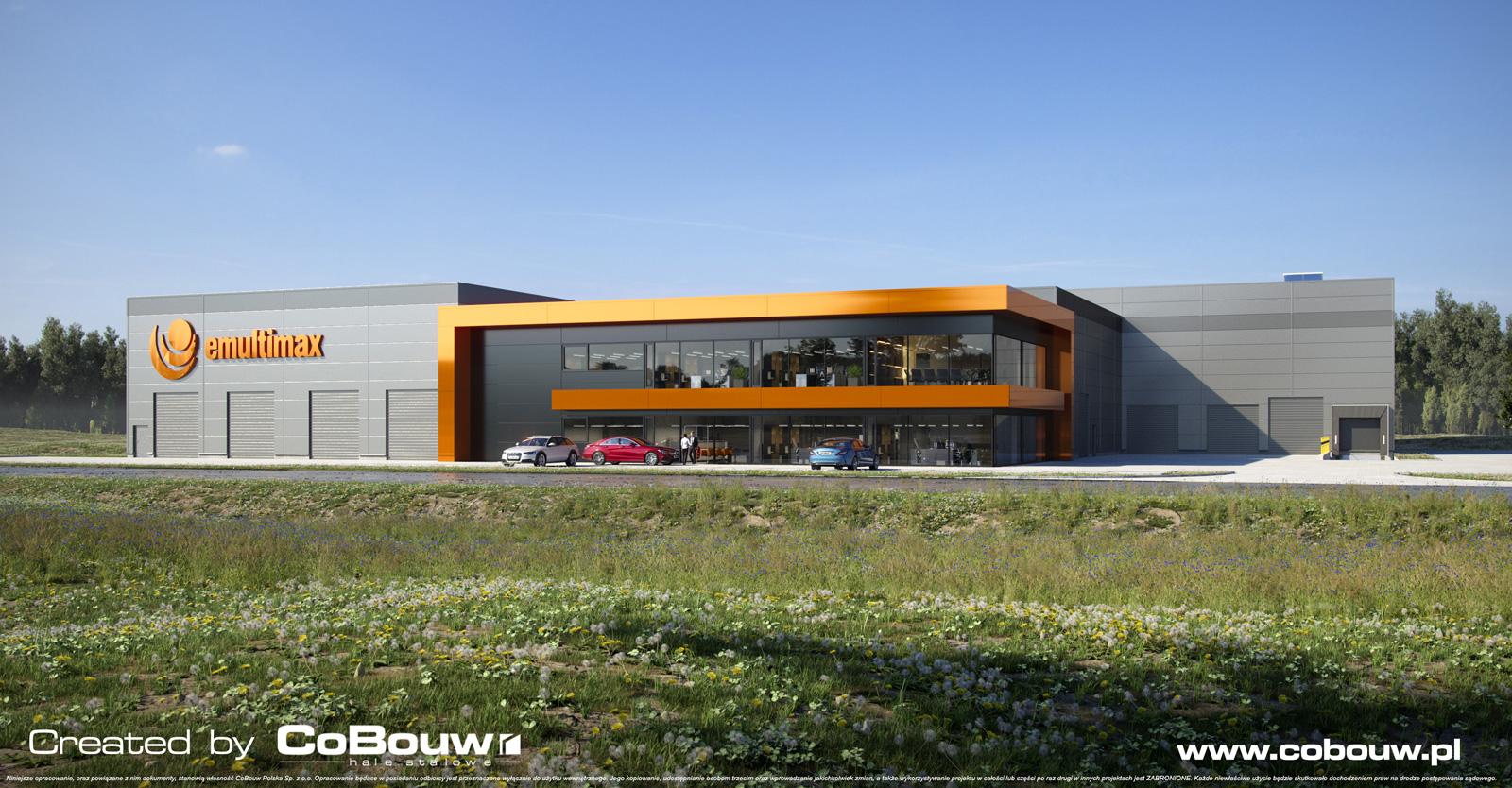 wizualizacja inwestycji-MuliMax-widok z-oddali - budowa hali produkcyjno-magazynowej z budynkiem socjalno-biurowym, w Zamościu, w woj. lubelskim, przez CoBouw Polska, hale stalowe