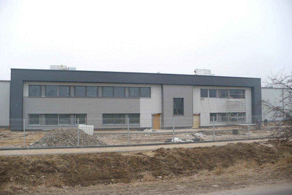 elewacja frontowa 1 - hala produkcyjna z budynkiem biurowym, dla Irmark, Warszawa, woj. mazowieckie