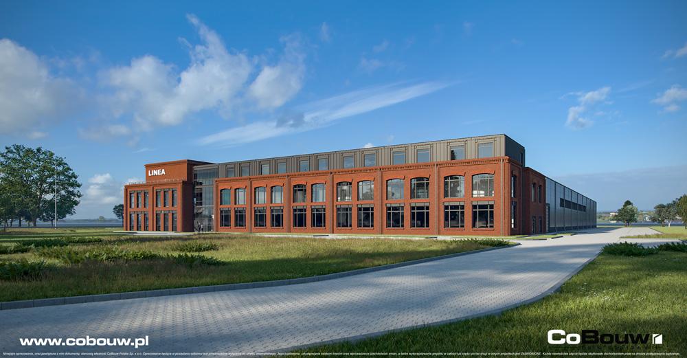Linea widok ogólny - wizualizacja inwestycji dla Fabryki Flag Linea, w Koszalinie