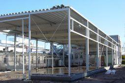 widok konstrukcji stalowej - hala produkcyjna, dla Lubiana Zakłady porcelany Stołowej, Lubiana, woj. pomorskie