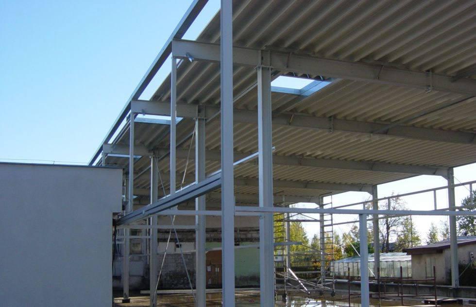 fragment konstrukcji stalowej - hala produkcyjna, dla Lubiana Zakłady porcelany Stołowej, Lubiana, woj. pomorskie