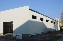 ściana frontowa i boczna - hala produkcyjna, dla Lubiana Zakłady porcelany Stołowej, Lubiana, woj. pomorskie