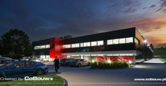 nocny widok, wizualizacja inwestycji Intap - hala dla producenta foteli autobusowych, Bukowiec, woj. łódzkie