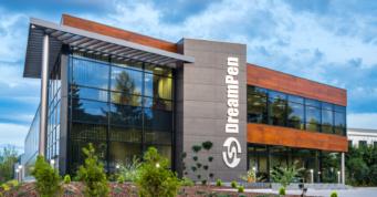 widok ogólny inwestycji - hala produkcyjno-magazynowa z budynkiem biurowym, firma DeamPen, Zielona Góra