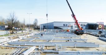 przygotowanie do wznoszenia konstrukcji stalowej-hala handlowa, w konstrukcji stalowej, generalne wykonawstwCoBouw Polska, Szczecin