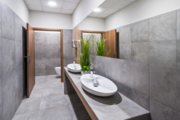 toaleta w biurowcu - zakład produkcyjno-magazynowy z budynkiem biurowym, dla DreamPen, Zielona Góra, woj. lubuskie
