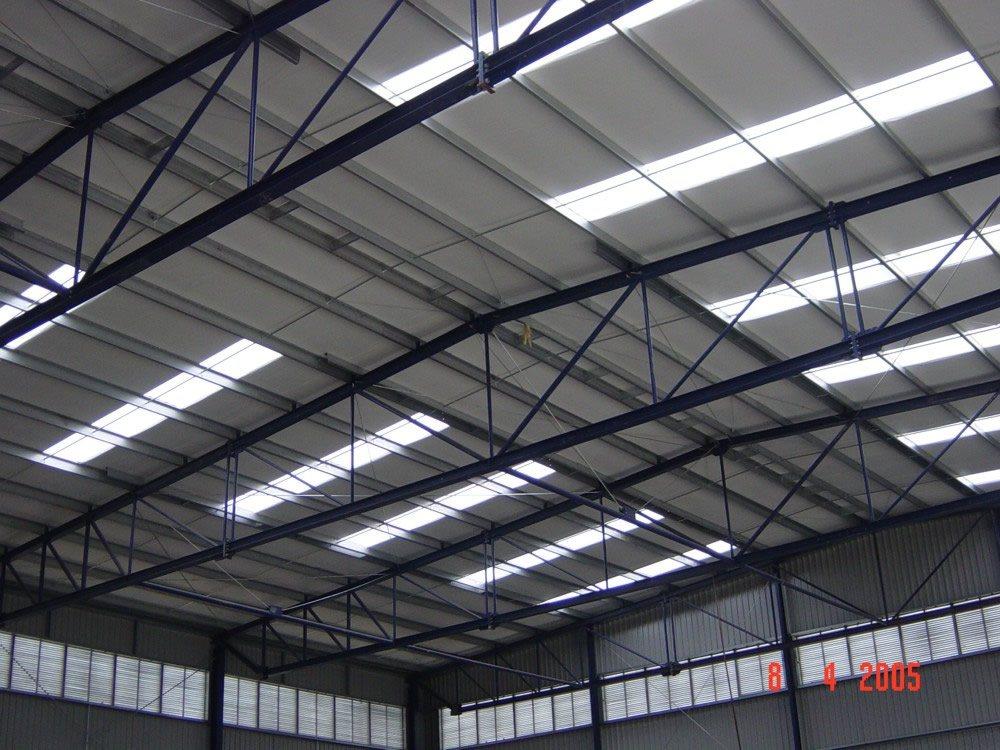 widok konstrukcji stalowej dachu - hala magazynowa, dla Van Gansewinkel, Kraków, woj. małopolskie