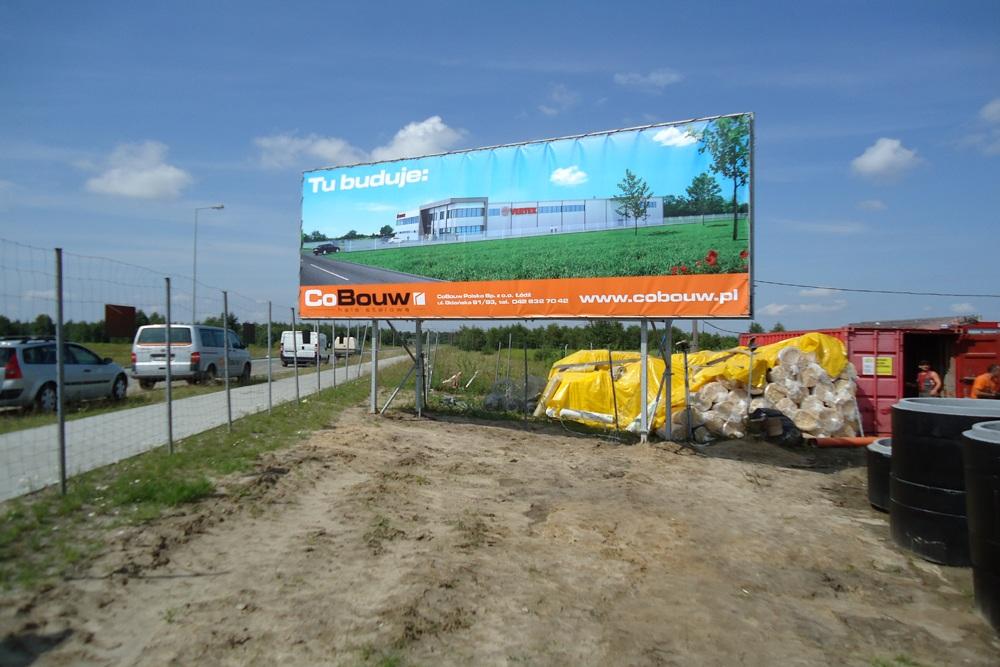 baner reklamowy - hala produkcyjna z budynkiem biurowym, dla Vertex, Konst. Łódzki, woj. łódzkie