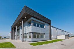 ściana frontowa i boczna 1 - hala produkcyjna z budynkiem biurowym, dla Vertex, Konst. Łódzki, woj. łódzkie