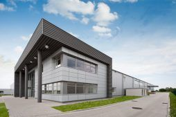 ściana frontowa i boczna - hala produkcyjna z budynkiem biurowym, dla Vertex, Konst. Łódzki, woj. łódzkie