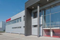elewacja frontowa 1 - hala produkcyjna z budynkiem biurowym, dla Vertex, Konst. Łódzki, woj. łódzkie