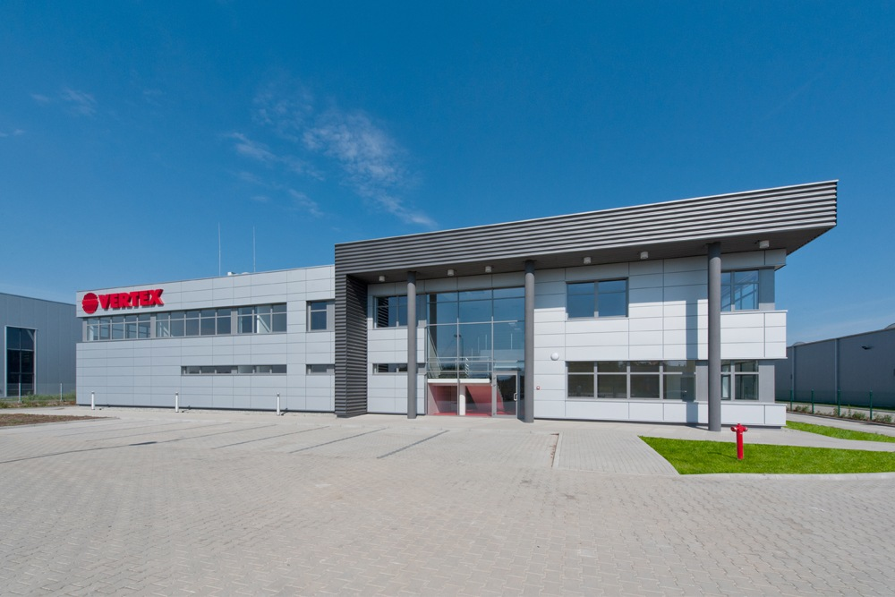 elewacja frontowa 4 - hala produkcyjna z budynkiem biurowym, dla Vertex, Konst. Łódzki, woj. łódzkie