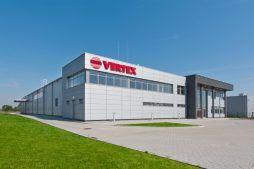 ściana frontowa 1 - hala produkcyjna z budynkiem biurowym, dla Vertex, Konst. Łódzki, woj. łódzkie