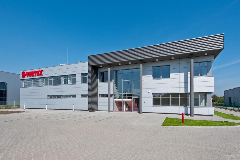 ściana frontowa - hala produkcyjna z budynkiem biurowym, dla Vertex, Konst. Łódzki, woj. łódzkie