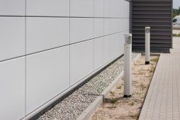 oświetlenie zewnętrzne - hala produkcyjna z budynkiem biurowym, dla Vertex, Konst. Łódzki, woj. łódzkie
