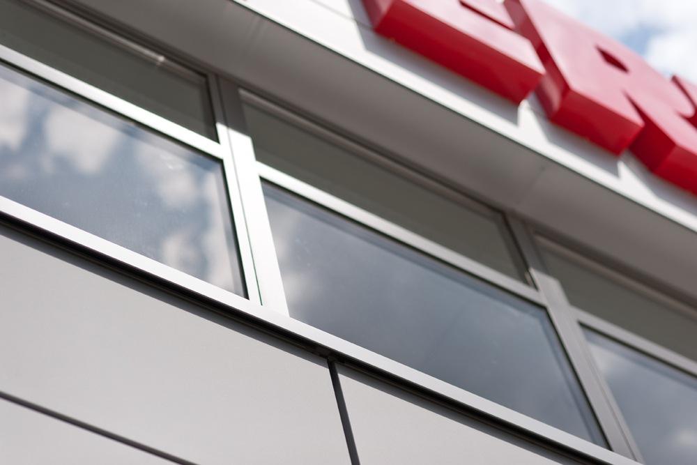 detal - hala produkcyjna z budynkiem biurowym, dla Vertex, Konst. Łódzki, woj. łódzkie