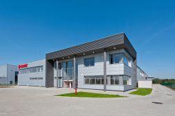 elewacja frontowa - hala produkcyjna z budynkiem biurowym, dla Vertex, Konst. Łódzki, woj. łódzkie