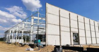 widok na ścianę ppoż - budowa w systemie zaprojektuj i wybuduj, dla Fagum-Stomil, Łuków, woj. lubelskie
