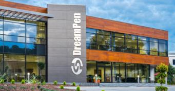 widok na reprezentacyjną część inwestycji - zakład produkcyjno-magazynowy z budynkiem biurowym, firma DreamPen, Zielona Góra, woj. lubuskie
