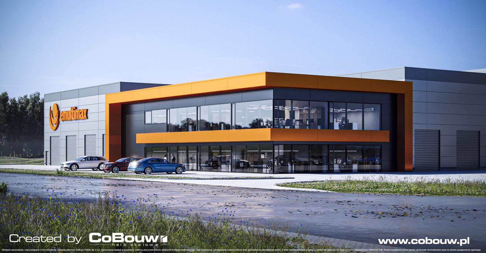 widok-od-strony-biurowca,-wizualizacja - hala dla producenta z branży grzewczej, firmy MultiMax, budowa pod klucz, przez CoBouw Polska, w Zamościu, woj. lubelskie