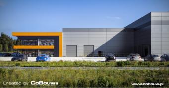 widok-od-strony-hali,-wizualizacja - obiekt produkcyjno-magazynowy z biurowcem, projekt i budowa przez CoBouw Polska, dla MultiMax, w Zamosciu, woj. lubelskie