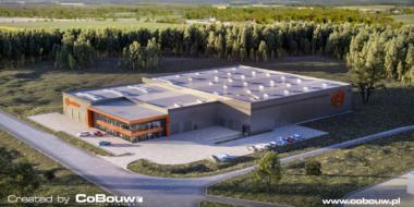 widok-z-lotu-ptaka,-wizualizacja obiektu MultiMax - projekt i budowa hali, dla MultiMax, w Zamościu, woj. lubelskie