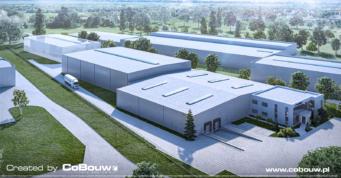 wizualizacja, hala dla branży transportowej - projekt i budowa magazynu dla firmy logistycznej Poltrakt, przez CoBouw Polska, w woj. wielkopolskim