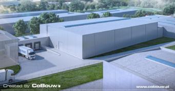 wizualizacja hali dla branży transportowo-spedycyjnej - budowa hali
