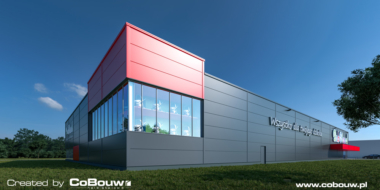 wizualizacja hali handlowej-hala stalowa dla firmy Boboland, realizacja CoBouw Polska, Szczecin, woj. zachodniopomorskie