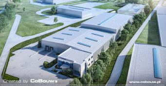 wizualizacja hali logistycznej - projekt i budowa hali dla firmy logistycznej, Poltrakt, w Tarnowie Podgórnym, w woj. wielkopolskim