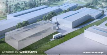 wizualizacja hali logistycznej dla branży transportowej widok z lotu ptaka - generalne wykonawstwo CoBouw Polska, inwestcyja w woj. wielkopolskim