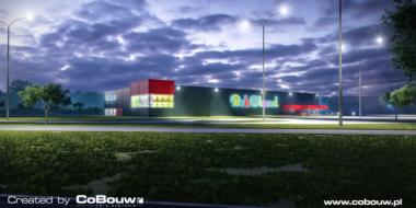 wizualizacja nocna hali handlowej, widok z oddali-hala stalowa, firma Boboland, inwestycja zrealizowana w Szczecinie