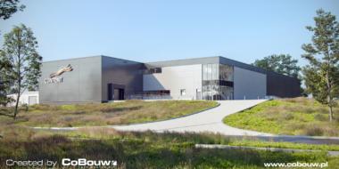 widok na inwestycję dla Content Sulęcin, wizualizacja - hala produkcyjno-magazynowa, z częścią socjalno-biurową, projekt i budowa CoBouw Polska, woj. lubuskie