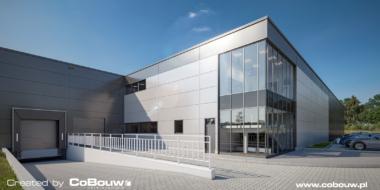 zjazd do doku przy części socjalno-biurowej, wizualizacja - inwestycja dla Content Sulęcin, budowa pod klucz, przez CoBouw Polska, woj. lubuskie