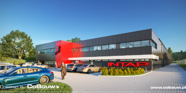 wizualizacja inwestycji Intap, widok ogólny - budowa hali produkcyjno-magazynowej, z budynkiem, biurowym, w Bukowcu, woj. łódzkie