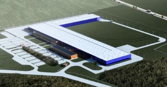 wizualizacja-jednego-z-etapów inwestycji - kompleks hal produkcyjno-magazynowych, dla producenta bram, firmy Hörmann Polska, Legnicka SSE, Gromadka, woj. dolnośląskie