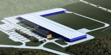 wizualizacja rozbudowywanej inwestycji dla Hörmann Polska - kompleks hal produkcyjno-magazynowych, dla producenta bram, Hörmann Polska, Legnicka SSE, Groamdka, woj. dolnośląskie