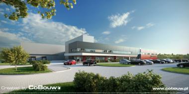 wizualizacja, widok od strony parkingu-hala produkcyjno-magazynowa z budynkiem biurowym, formuła