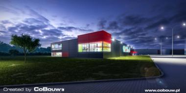 wizualizacja nocnego widoku inwestycji-obiekt handlowy Boboland, artykuły dla dzieci, Szczecin